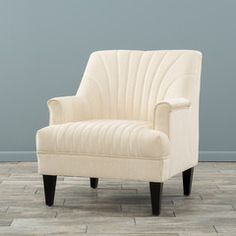 Lynette Channel Ivory Fabric Club Chair