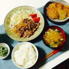 #しょうが焼き #お味噌汁 #めかぶサラダ #ハッシュドポテト - 45件のもぐもぐ - 晩ごはん。 by choco55
