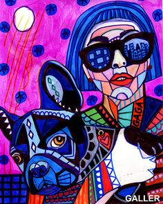 Lady Gaga avec Asie Français Bulldog par HeatherGallerArt sur Etsy