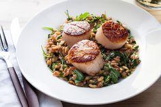 Seared Scallops with Lemony Farro and Arugula Salad (I made this last night and it was fantastic! I used a mix of coconut oil and butter for the scallops, and they were VERY tasty.)