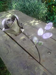 Metal art. Metal rose. CO2 welded.