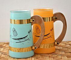 Vintage Tiki Mugs - Tropical Siestaware Cocktail Glasses - Turquoise and Mango via Etsy