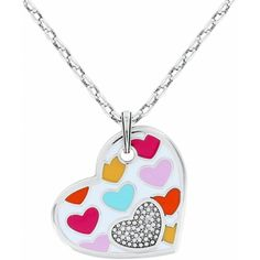 "Style # JN5862  Love is like a box of candy - these sweet heart motifs in bon bon colors are a true jewelry confection.  Color: Silver-Multi  Collection: Bonbon Hearts  Closure: Lobster Claw  Length: 16"" - 18"" Adjustable  Pendant Drop: 1 1/2""  Material: Swarovski crystal  Finish: Silver plated, Enamel  Suggested Retail Price: $56.00"