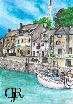 An original Watercolour painting of the lovely Padstow Harbour. The painting will come professionally mounted and framed and will come with an authenticity Certificate. Watercolor Landscape Paintings, Ink Painting, Watercolor And Ink, Art For Sale, Cool Art, Greeting Cards, The Originals, Cornwall, Prints