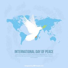 Flat dove with laurel leaf and world map Free Vector