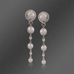 Mikimoto 4-7mm Akoya Pearl and .29 ct. t.w. Diamond Drop Earrings in 18kt White Gold