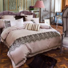 Egyptian cotton bedding set-lace duvet cover light purple bed sheet bedding pillowcase,queen king size embroidered bed linens