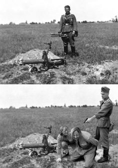 Soviet propaganda operatives understandably did everything they could to demonize enemy forces, including elaborate photographic manipulation. The famous image above of what appears to be a brutal, point-blank execution of two women started out as a simple battlefield snapshot of a German soldier and a Russian machine gun. Because he obstructed the horizon, the treeline was cut-and-pasted (the old fashioned way) when the women and the executioner were superimposed.