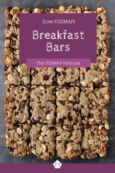 Looking for a quick and easy make-ahead breakfast idea? Try these low FODMAP breakfast bars! FODMAP Recipes | FODMAP Diet | FODMAP Diet Recipes| IBS Recipes | IBS Diet | IBS Diet Recipes | Low FODMAP Breakfast | Breakfast Ideas | Breakfast Recipes | Breakfast Bars | Breakfast Cookies | Peanut Butter Breakfast Bars | Gluten Free Breakfast Bars #glutenfree #fodmap www.fodmapformula.com