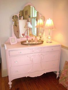 Pink Shabby Chic Dresser with Tiara Mirror myshabbychicdecor... #shabbychicdresserswithmirror #shabbychicfurniture