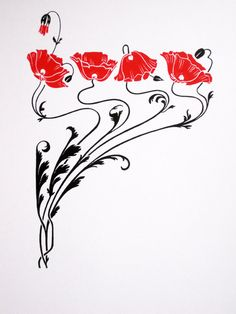 Art Nouveau Red Poppies limited edition screenprint by NigelDK