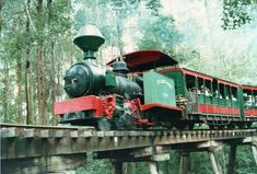 """Preserved Steam Locomotives Down Under - Fowler 12271 """"The Green Hornet"""" crossing the Timbertown trestle on 8 March 1997."""