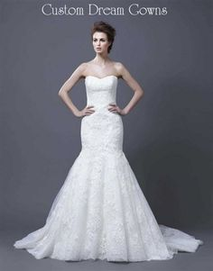 Halima By Enzoani 2013 is a Beautiful Fit and Flare Mermaid Lace Overlay Gown with Sweetheart Neckline, Fitted Bodice, Flared Skirt with Chapel Train, Back Zipper Close.
