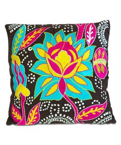 Love this Pink & Yellow Flower Embroidered Throw Pillow on #zulily! #zulilyfinds
