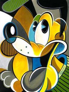 """Plucasso"" by Tim Rogerson - Original Artwork on Canvas, 18x24. #Disney #DisneyFineArt #TimRogerson"