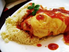 Chicken brest in tomatoe- orange sauce with fresh mint and basil.