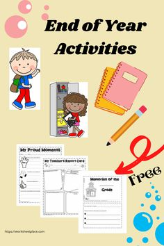 End of year lessons for all grades. Keep your students motivated right up until the last day with these great activities. What are they proud of? Have them do a teacher report card. Complete the word search puzzle. Lots of tasks to help you keep them engaged through the last few weeks. Best of all the resources are all free! Free Worksheets, School Worksheets, End Of Year Activities, End Of School Year, My Memory, My Teacher, Word Search, Students, Puzzle