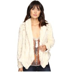 Free People Embroidered Cascade Fur Jacket (Ivory) ($298) ❤ liked on Polyvore featuring outerwear, jackets, snap jacket, free people jacket, white winter jacket, embroidery jackets and pocket jacket