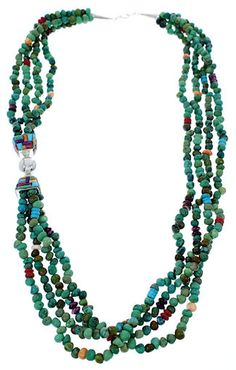 American Indian Navajo Multicolor Silver Bead Necklace GS74958 http://www.silvertribe.com