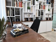 Návrh interiéru pracovne Keď práca teší, detail na miesto za pracovným stolíkom Bookcase, Study, Shelves, Home Decor, Shelving, Homemade Home Decor, Studio, Shelf, Open Shelving