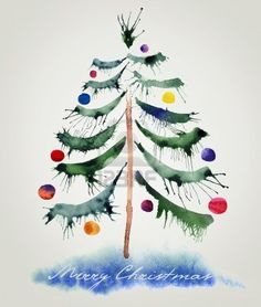 image result for christmas card watercolor painting ideas