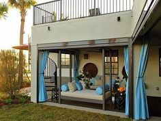 Through patio curtains, you can decorate your home Images of 23 Wonderful Outdoor Curtains Ideas outdoor patio curtains Porch Curtains, Small Curtains, Outdoor Curtains, Outdoor Rooms, Outdoor Living, Indoor Outdoor, Outdoor Bedroom, Hang Curtains, Blue Curtains