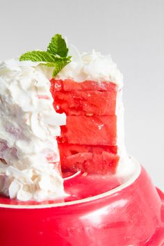 """Real watermelon """"cake"""" with coconut flour frosting \\ immaEATthat.com"""