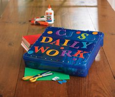 Keep all things needed for your childs homework- Pencils, Markers, Glue, Ruler, Crayons, Scissors etc. All tucked away in one little handy place. :)