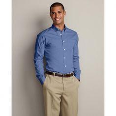 Eddie Bauer Men's Slim-Fit Wrinkle-Free Pinpoint Oxford Shirt - Solid