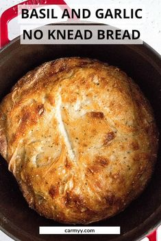 hours · Vegetarian · Serves 5 · This easy Basil and Garlic No Knead Bread has a crispy exterior and soft interior! It's so simple and only takes a couple minutes to put together. No mixer needed. Artisan Bread Recipes, Dutch Oven Recipes, Baking Recipes, Dutch Oven Bread, Best Bread Recipe, No Knead Bread, Bread Bun, Easy Bread, Bread Rolls