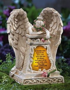 Amazon.com: Solar Lighted Weeping Angel Memorial Garden Stone By Collections Etc: Patio, Lawn & Garden
