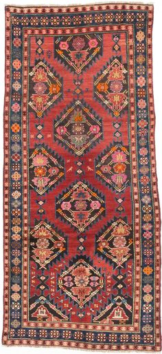 Shiravan is one of the principal weaving areas of the Caucasus on the shores of the Caspian Sea. This series of Shiravan rugs are hand knotted using 100% wool with natural dyes. Decorative elements of
