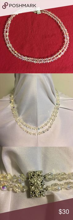 """MORE VINTAGE BLING! Lovely double strand aurora crystal necklace. Fancy crystal clasp. From the 50's-60's ears. Shortest strand measures 20"""" from end to end. Simply stunning! Vintage Jewelry Necklaces"""