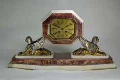 BRONZE ART DECO EGYPTIAN REVIVAL CLOCK.