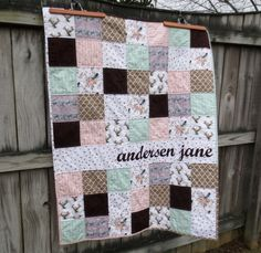 Order a custom quilt with your child's name at Lindysue Sews on Etsy.  https://www.etsy.com/listing/230381473/personalized-baby-quilt-triangle-baby?ref=shop_home_feat_2