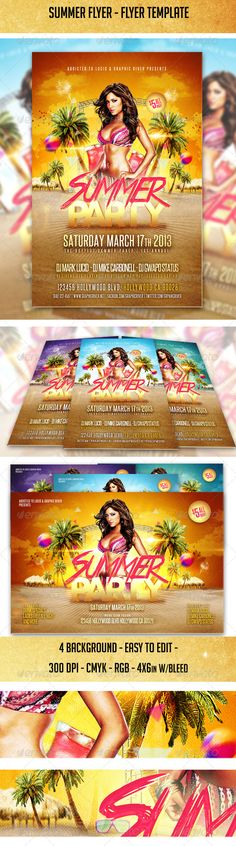 Summer Party - Flyer Tempalte #design Download: http://graphicriver.net/item/summer-party-flyer-template/2759250?ref=ksioks