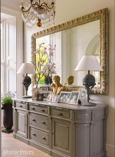 Dining Room Sideboard Decorating Idea Entrance Hall with Sideboard and Large Mirror Dining Room Sideboard, Entryway Tables, Console Table, Table Lamps, Large Sideboard, Entrance Hall Tables, French Sideboard, Antique Sideboard, Entryway Ideas