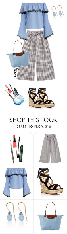 """""""Let's go to the carnival!"""" by berry1975 ❤ liked on Polyvore featuring Clinique, Splendid, Love Is, Longchamp, Hermès, Wedges and gingham"""