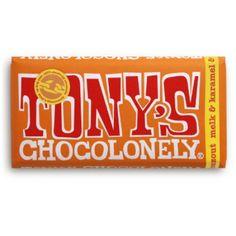 Tony's Chocolonely melkchocolade met karamel en zeezout. <3 <3 <3