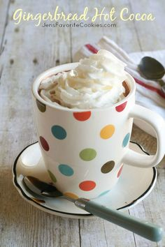 Gingerbread Hot Cocoa from JensFavoriteCookies.com - a fun twist on hot chocolate!