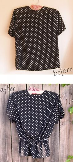 I am a sucker for polka dots so I had to buy this top.  It was on sale at the thrift store for 95 cents!  It didn't look too great on.  It was way too boxy so I decided to add a little shape to it by giving it an elastic waist.  I also added elastic to the sleeves to make them a little bit ruched.  This was a really quick and easy refashion.