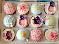 Vintage Chic Wedding cupcakes...these would be great for the bridal party!