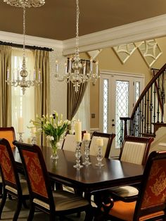 Delicieux Classic Dining Room Interior Design, Wooden Dining Table, Chair, Lovely  Hanging Light, Window And Curtain