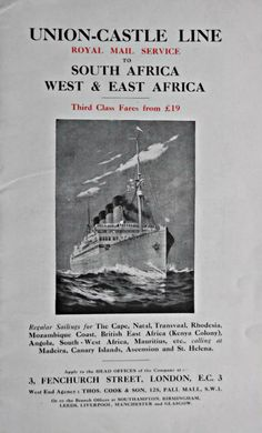 West East, Merchant Navy, Old Advertisements, Canary Islands, East Africa, Africa Travel, Royal Mail, Line, Sailing