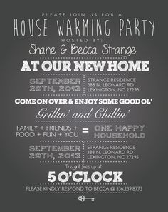 House Warming Party Invites - #TypographyJunkie