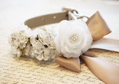 White champagne Wedding Dog Collar  champagne Floral by LADogStore, $43.50