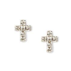 Sterling Silver Rhinestone Cross Stud Earrings