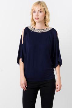 Suzy Shier Embellished Cold Shoulder Top