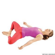 Reclining Bound Angle Pose: One of the benefits of this pose is that it relieves the symptoms of stress, mild depression, menstruation and menopause. It also stretches the inner thighs, groins, and knees.