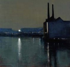Andrew Gifford - Towards Chelsea Wharf II  (24) - 2004  Oil on panel 32 x 33 ins (81.28 x 83.82 cms)